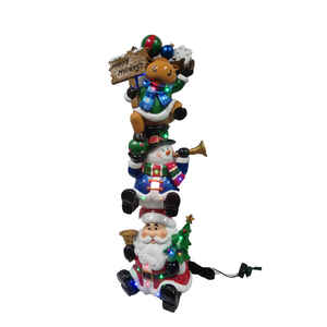 CHT  LED Christmas Character Stack  Christmas Decoration  Polyresin  1 pk Red/White/Green