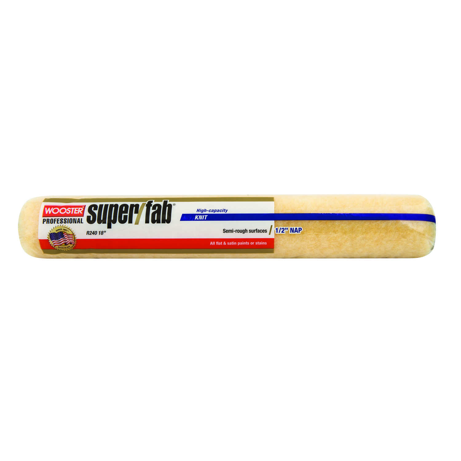 Wooster  Super/Fab  Fabric  1/2 in.  x 18 in. W Regular  Paint Roller Cover  1 pk