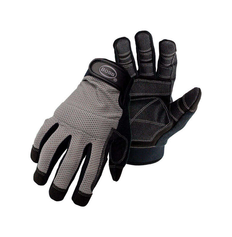 Boss  Breathable Mesh  Men's  Indoor/Outdoor  Synthetic Leather  Mechanic  Work Gloves  Black/Gray