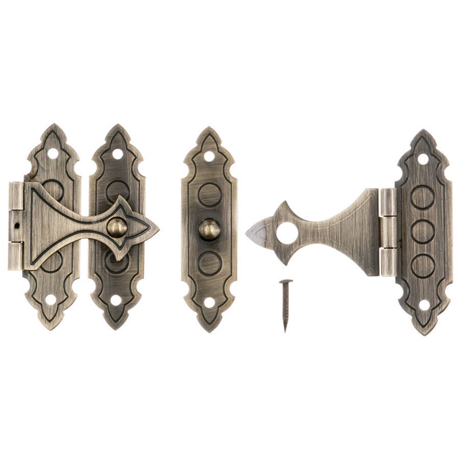 Ace  Antique  Brass  Decorative Catch  1.4 in. 2 pk