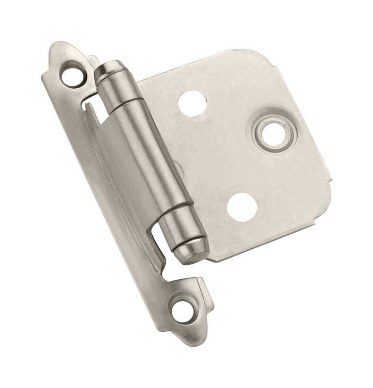 Amerock  1-13/16 in. W x 2-3/4 in. L Satin Nickel  Steel  Variable Hinge  2 pk