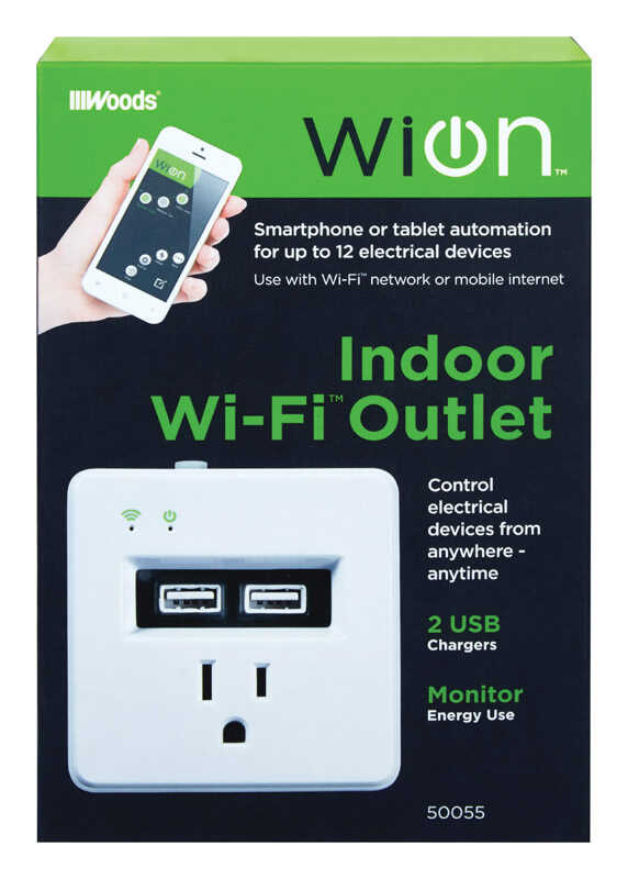 Woods WiOn 15 amps 125 volt White Electrical WiFi Outlet 1-15P 1