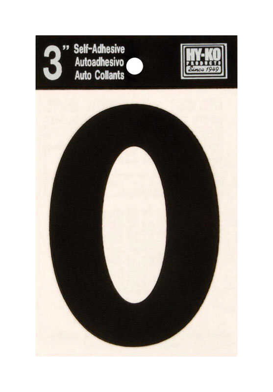 Hy-Ko  3 in. Vinyl  Black  Self-Adhesive  Letter  O