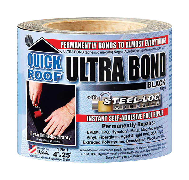 Quick Roof  Ultra Bond  4 in. H x 4 in. W x 25 ft. L Black  Tape  Roll  Self Stick Instant Waterproo