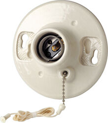 Leviton  Porcelain  Incandescent  Medium Base  Ceiling Keyless Lampholder With Chain  1 pk