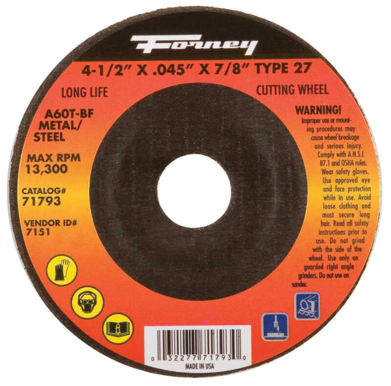 Forney  4-1/2 in. .045 in.  x 7/8 in.  1 pc. Metal Cut-Off Wheel  Aluminum Oxide
