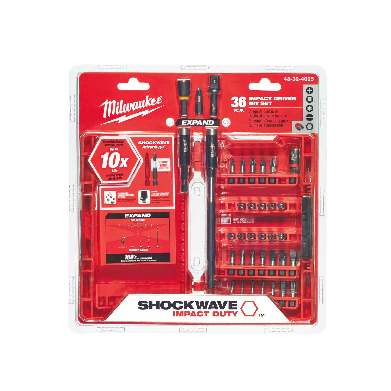 Milwaukee  SHOCKWAVE  Impact Duty  Screwdriver Bit Set  Steel  Hex Shank  1/4 in. 36 pc. Assorted