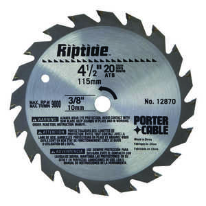 Porter Cable  Riptide  4-1/2 in. Dia. x 3/8 in.  Carbide Tipped  Saw Blade  20 teeth 1 pk