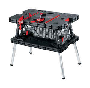 Keter  33.46 in. L x 21.65 in. W x 29.7 in. H Portable  Folding Work Table  1000 lb. capacity