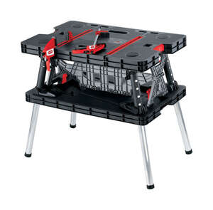 Keter  21.65 in. W x 29.7 in. H x 33.46 in. L Portable  Black  Resin  Folding Work Table