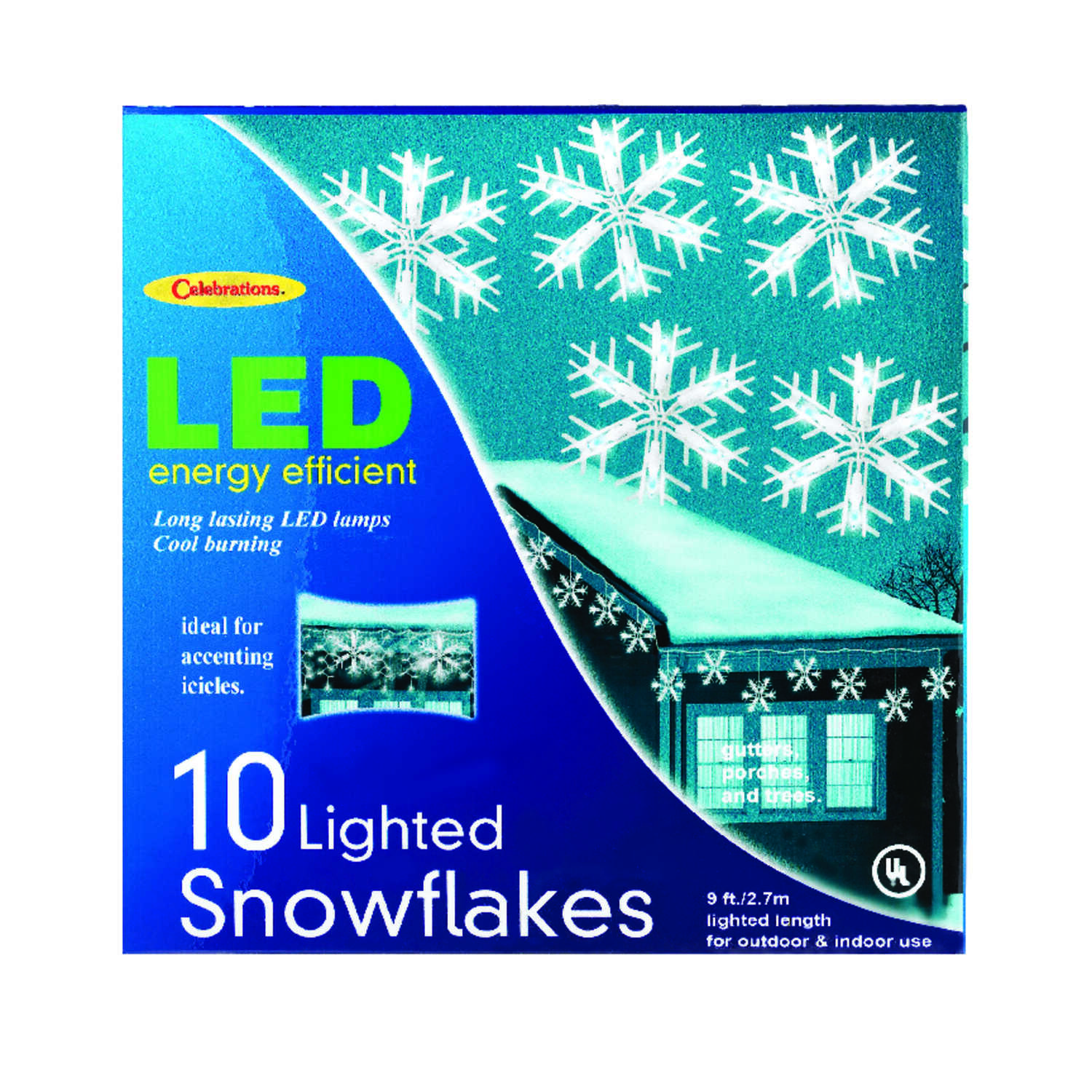 Celebrations  LED  Snowflake  Light Set  White  9 ft. 10 lights