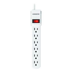 Monster Just Power It Up 3 ft. L 6 outlets Power Strip White