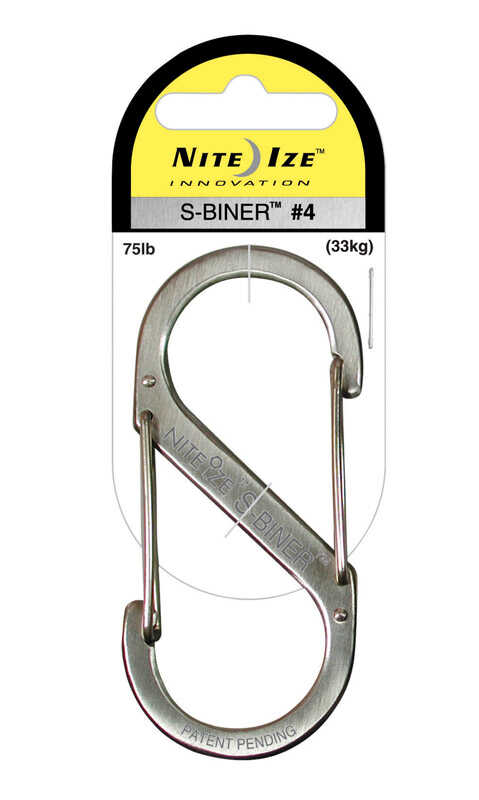 Nite Ize  S-Biner  1.8 in. Dia. Stainless Steel  Silver  Carabiner  Key Holder