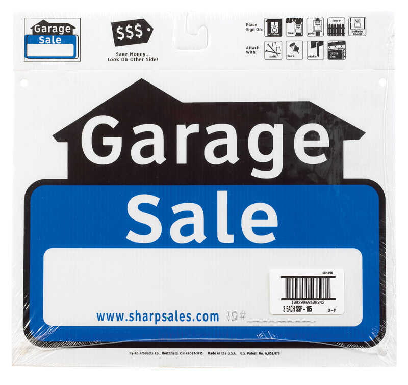Hy-Ko  English  13 in. W x 12 in. H Garage Sale  Sign  Plastic