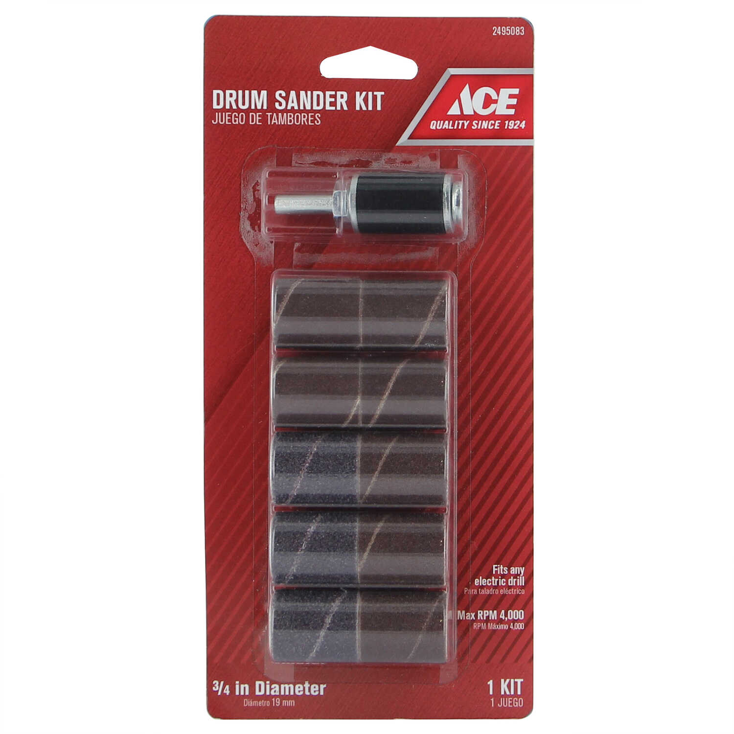 Ace  3/4 in. Dia. x 3/4 in. L Aluminum Oxide  Drum Sander Kit  Assorted  10 pc.