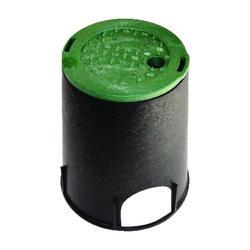 NDS 8-3/8 inch W x 9-1/16 inch H Round Valve Box with Overlapping Cover Black/Green