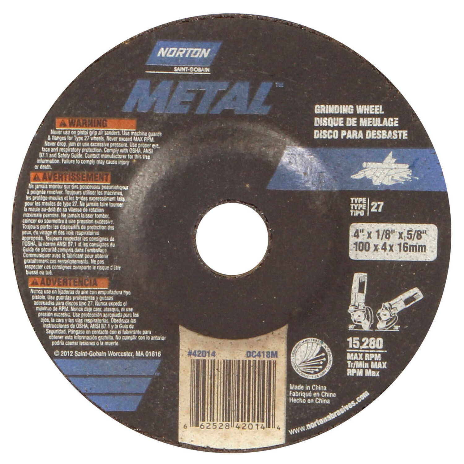 Norton  4 in. Dia. x 1/8 in. thick  x 5/8 in.   Aluminum Oxide  15280 rpm 1 pc. Grinding Wheel
