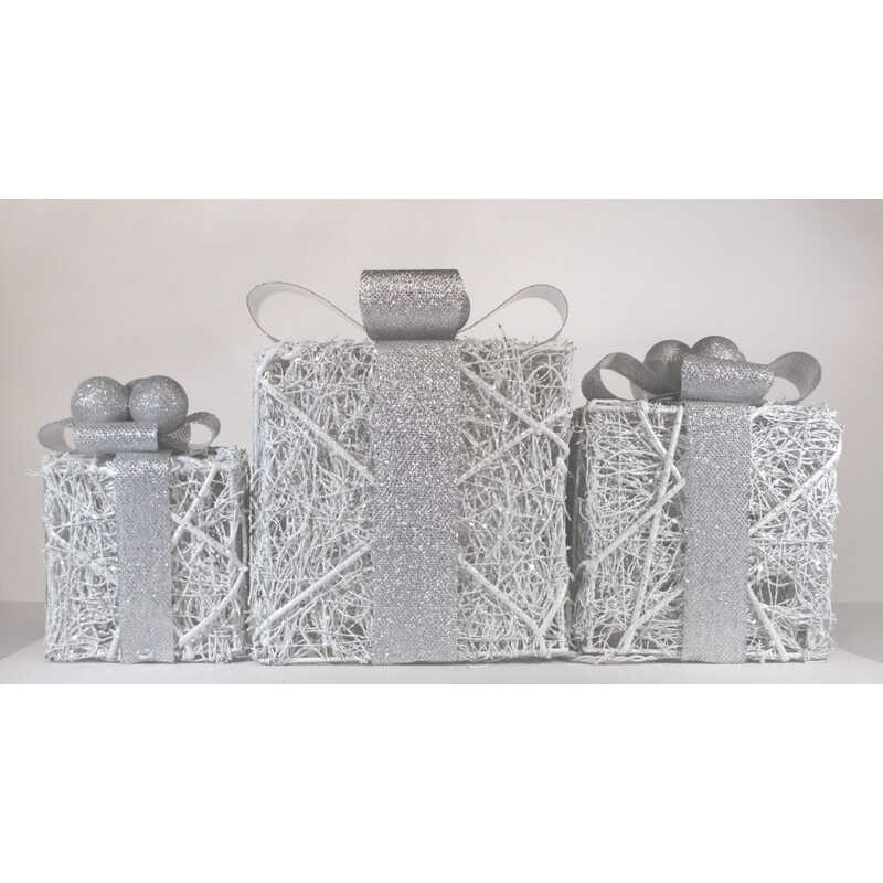 Celebrations  Giftboxes  LED Yard Art  White  3 pc. Synthetic