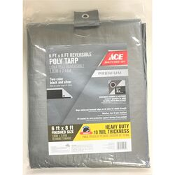 Ace  6 ft. W x 8 ft. L Heavy Duty  Polyethylene  Tarp  Black/Silver
