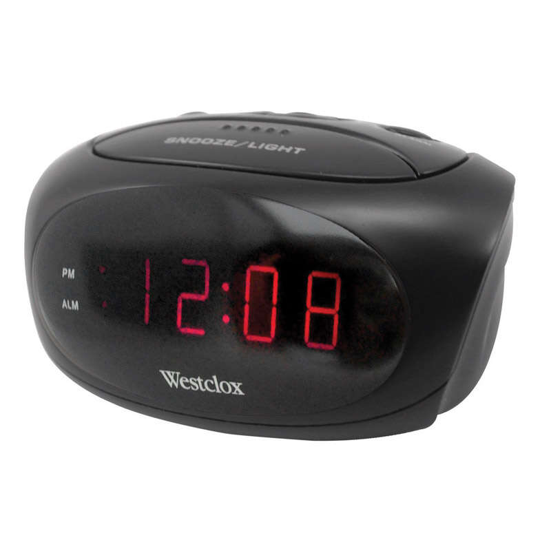 Westclox 0.6 in. Black Alarm Clock LED Plug-In
