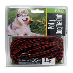 Boss Pet  Red / Black  Poly  Dog  Tie Out Rope  Small/Medium