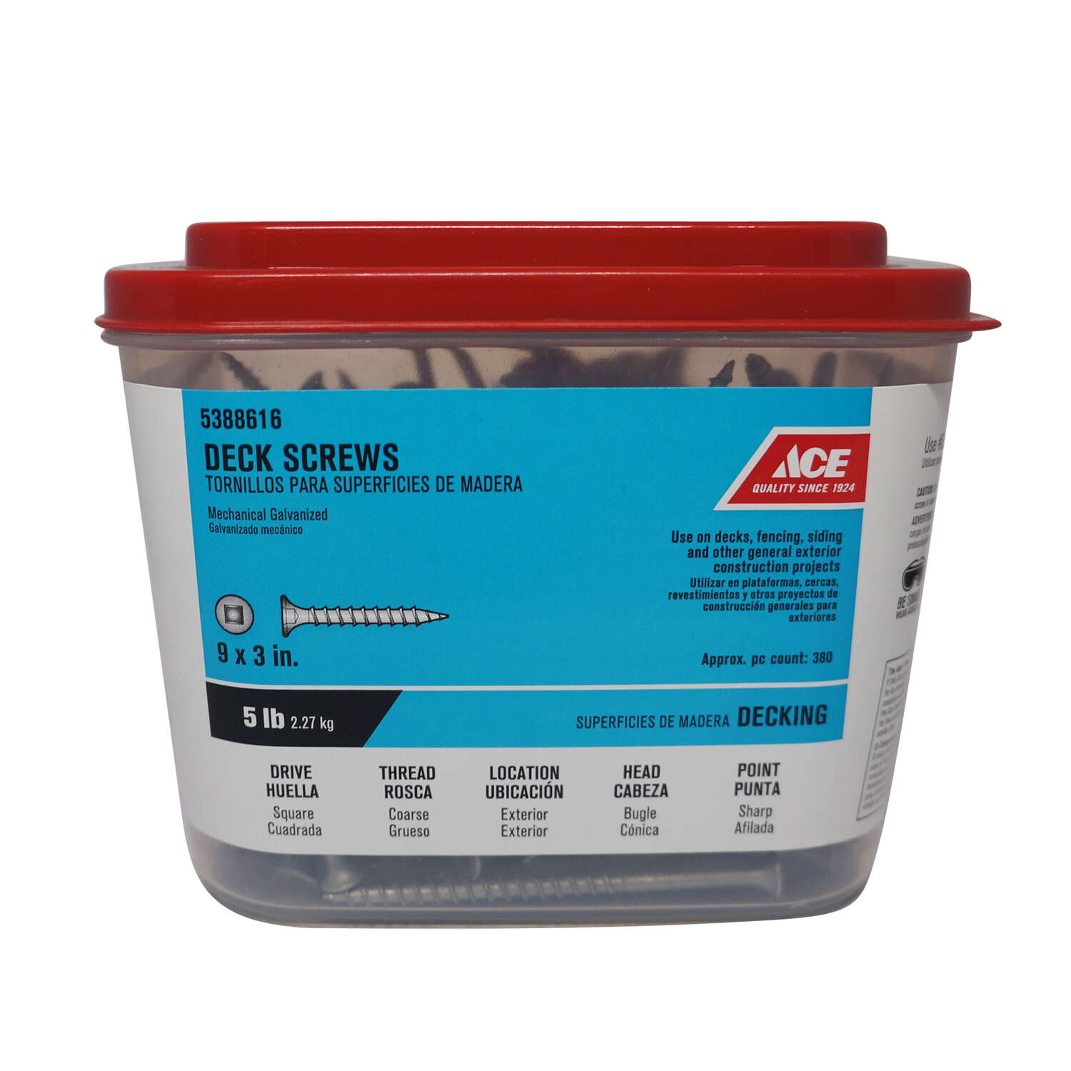 Ace  No. 9   x 3 in. L Square  Bugle Head Galvanized  Deck Screws  5 lb. 384 pk