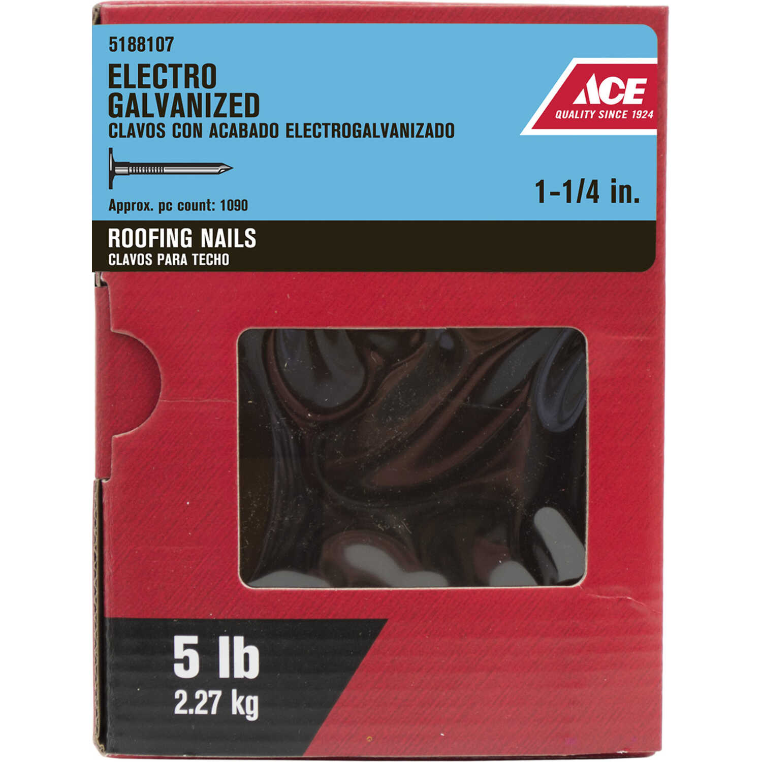 Ace  1-1/4 in. L Roofing  Electro-Galvanized  Steel  Nail  Smooth Shank  Large  5 lb.