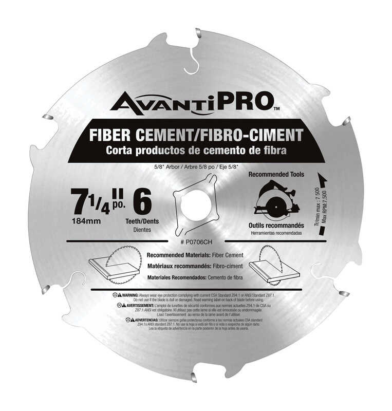 Freud  Avanti Pro  7-1/4 in. Dia. x 5/8 in.  Carbide Tip  Fiber Cement Blades  6 teeth 1 pk