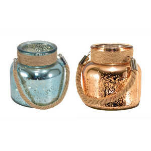 Mark Feldstein  4-1/2 in. H Rose Gold and Blue  Mercury Glass  Canisters with Jute Handle