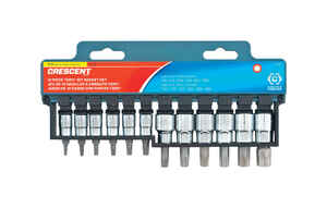 Crescent  Assorted Sizes  x 1/4 and 3/8 in.  SAE  6  Torx Bit Socket Set  12 pc.