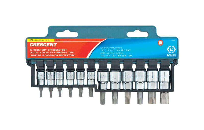 Crescent  Assorted Sizes  x 1/4 and 3/8 in. drive  SAE  6 Point Torx Bit Socket Set  12 pc.