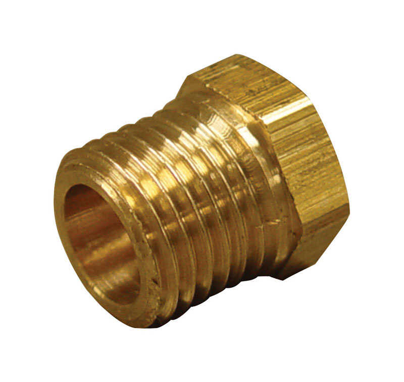 JMF  1 in. Dia. x 3/8 in. Dia. MPT To FPT  Yellow Brass  Hex Bushing
