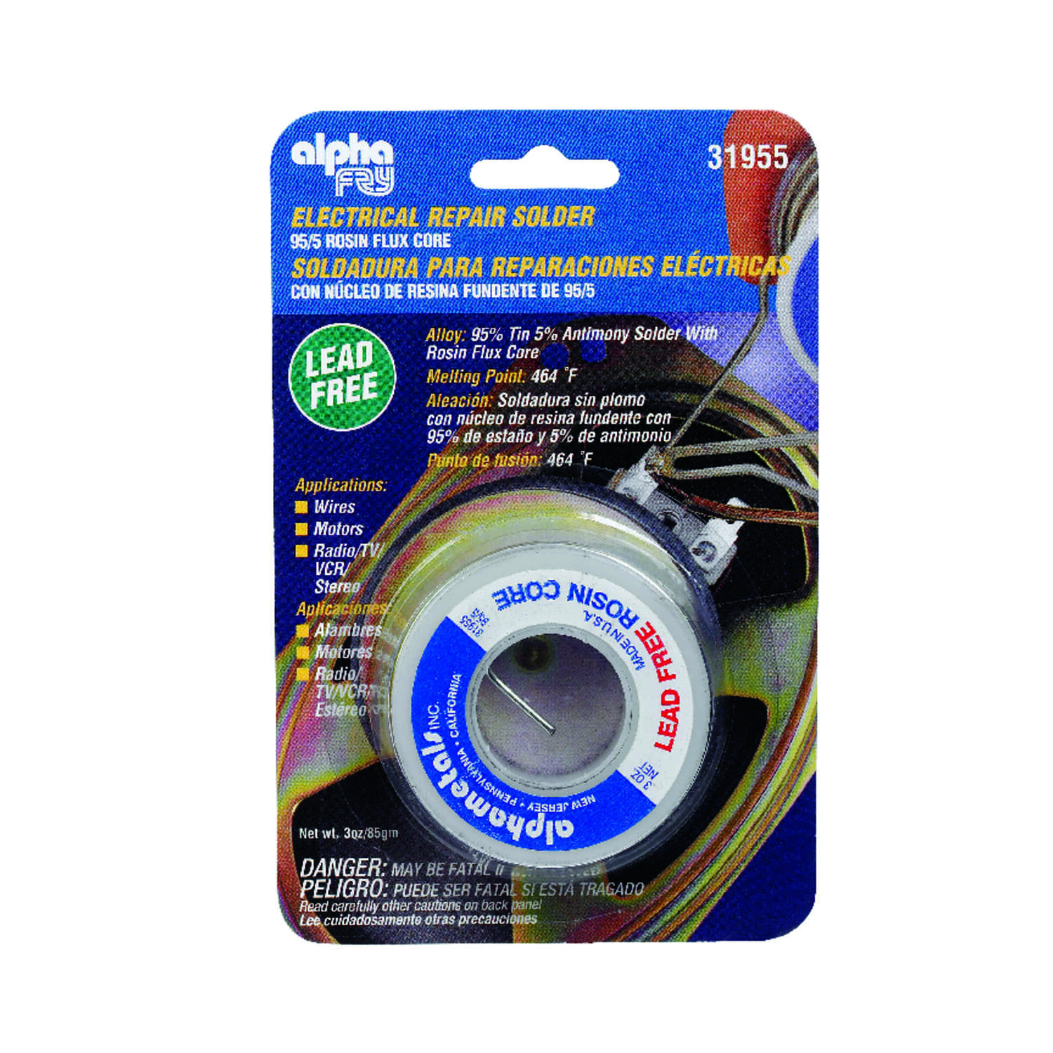 Alpha Fry 3 oz. Lead-Free Rosin Core Solder Wire 0.06 in. Dia. Tin/Antimony 95/5 1 pc.
