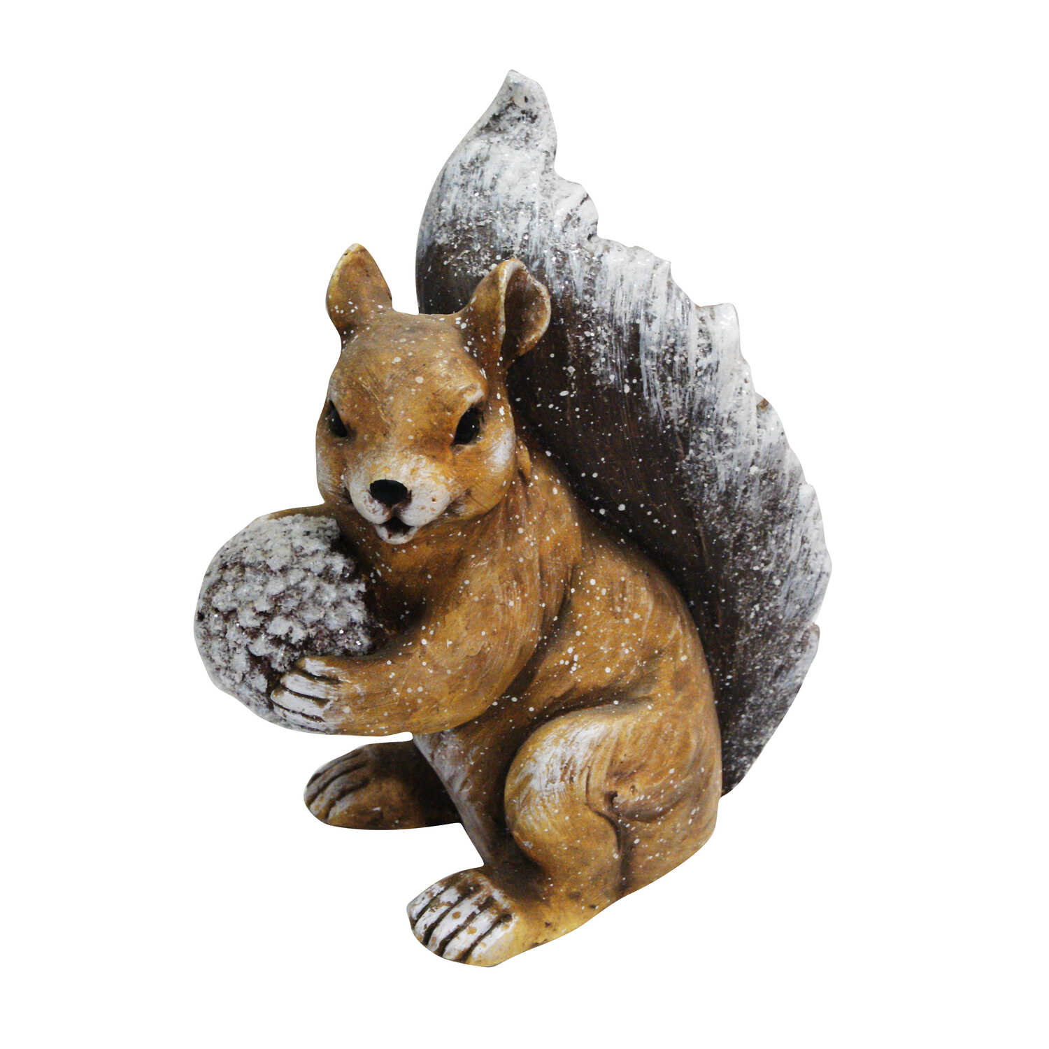 Alpine  Winter Squirrel Statue  Christmas Decoration  Brown  Resin  1 each