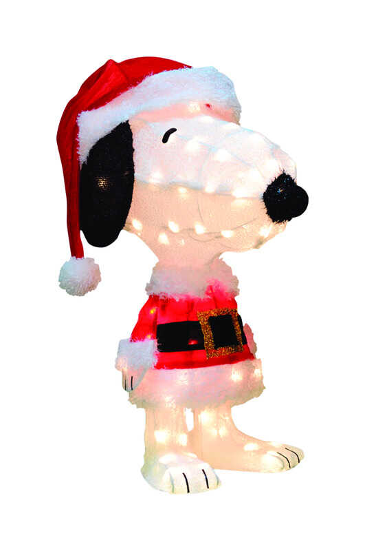 Product Works  Peanuts  Prelit 3D Snoopy in Santa Suit  Christmas Decoration  Multicolored  Tinsel