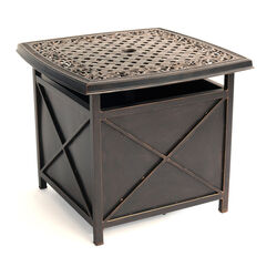 Hanover Traditions Square Brown Aluminum Side Table