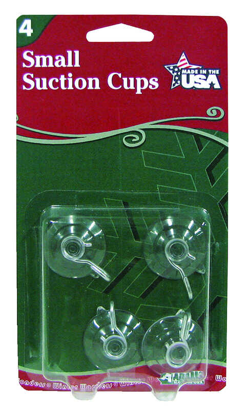 Adams  Small Suction Cup  Hooks  Clear  Rubber  4 pk