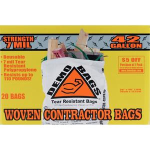 abe1380d7 Demo Bags Ultimate Pro Pack 42 gal. Contractor Bags Flap Tie 20 pk ...