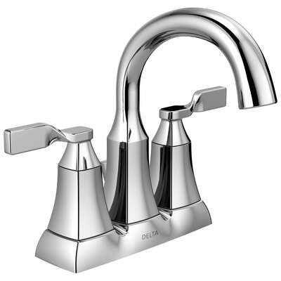 Delta  Sawyer  Chrome  Two Handle  Lavatory Pop-Up Faucet  4 in.