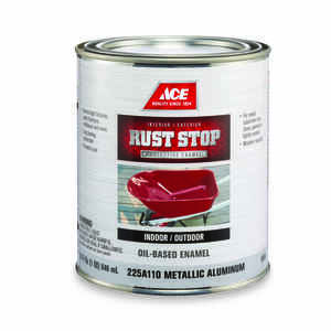 Ace  Rust Stop  Indoor and Outdoor  Gloss  Aluminum  Rust Prevention Paint  1 qt.
