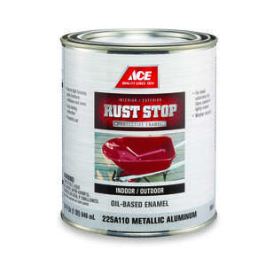 Ace  Rust Stop  Indoor and Outdoor  Interior/Exterior  Aluminum  Gloss  Rust Prevention Paint  1 qt.