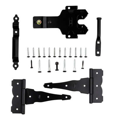 National Hardware  9.72 in. L Black  Steel  T-Hinge Gate Kit  1 pk