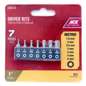Ace  Mult Size in.  x 1 in. L Hex  1/4 in. Hex Shank  7 pc. Insert Bit Set  S2 Tool Steel