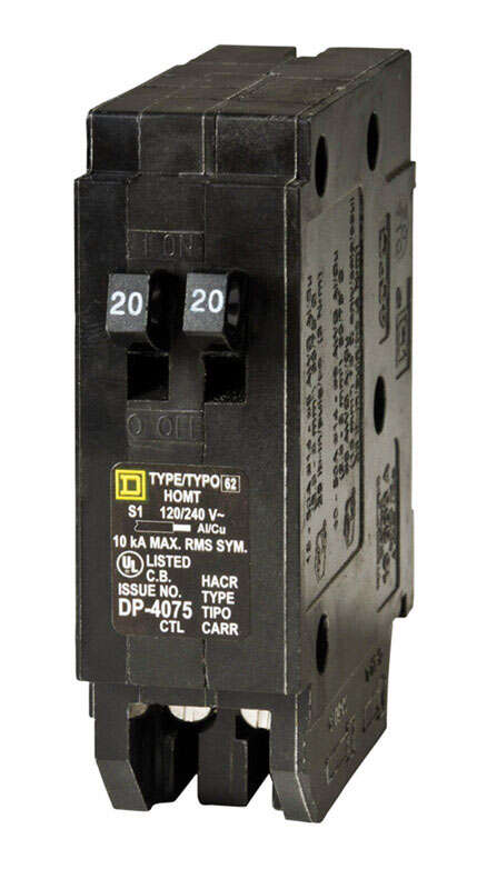 Square D  HomeLine  20/20 amps Tandem  Single Pole  Circuit Breaker