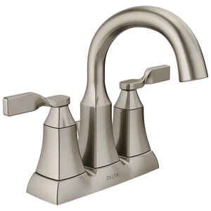 Delta  Sawyer  Spotshield Brushed Nickel  Two Handle  Lavatory Pop-Up Faucet  4 in.