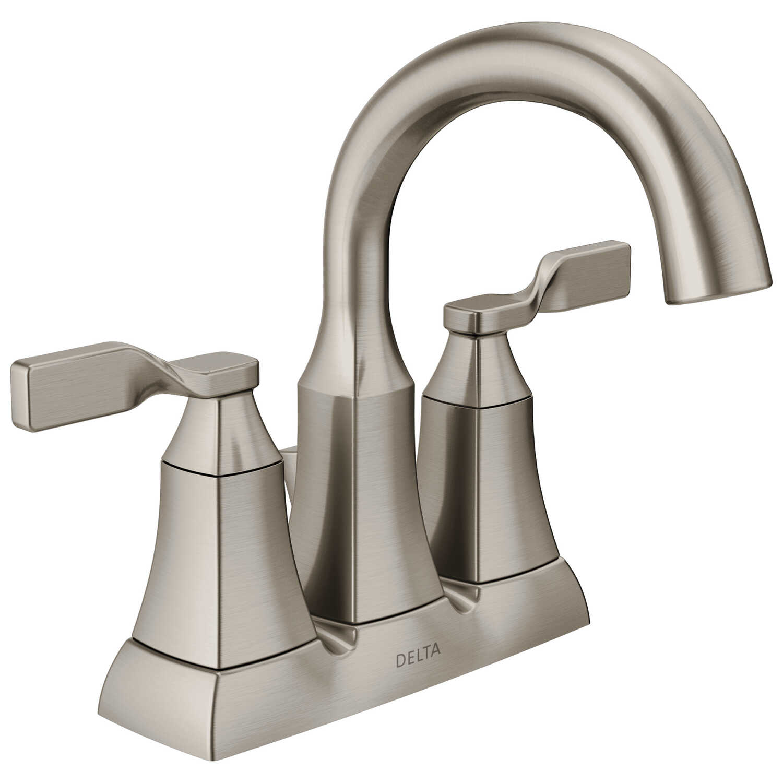 Bathroom Faucet Stores: Delta Sawyer Two Handle Lavatory Faucet 4 In. Spotshield