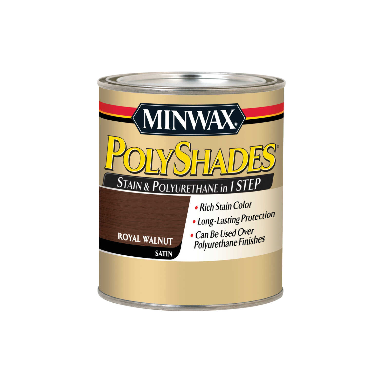 Minwax  PolyShades  Semi-Transparent  Satin  Royal Walnut  Oil-Based  Stain  1 qt.