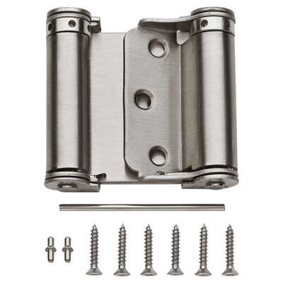 National Hardware  3 in. L Satin Nickel  Double-Acting Spring Hinge  1 pk