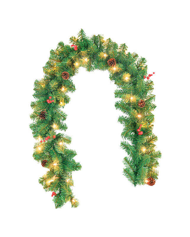 Celebrations  Prelit Green  10 in. Dia. x 6 ft. L Clear  Garland