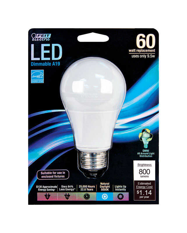 FEIT Electric  9.5 watts A19  LED Bulb  800 lumens A-Line  Daylight  60 Watt Equivalence